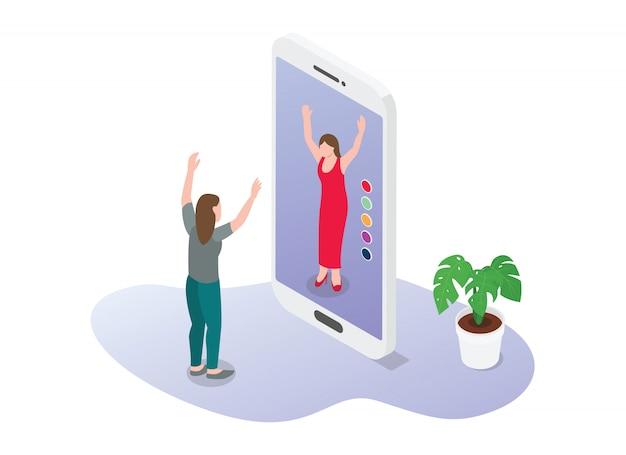 Technologie de réalité virtuelle ou de réalité augmentée pour la mode de commerce électronique acheter de nouveaux vêtements avec un style plat moderne