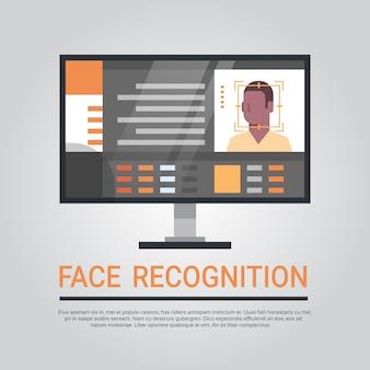 Technologie de reconnaissance du visage système de sécurité informatique balayage homme afro-américain biométrique i