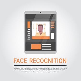 Technologie de reconnaissance du visage système de sécurité pour tablette numérique numérisant le biome d'un homme afro-américain