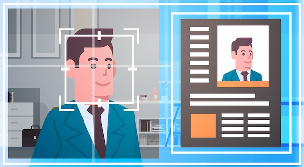 Technologie de reconnaissance de visage numérisation homme d'affaires système de sécurité moderne identification biométrique co