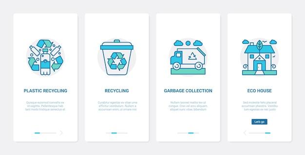Technologie de recyclage écologique zéro déchet pour économiser l'écologie ux ui ensemble d'écran de page d'application mobile