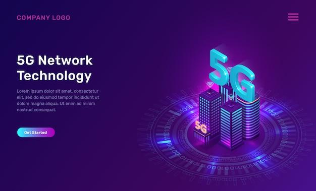Technologie de réseau 5g, concept isométrique