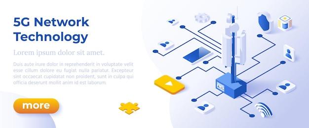 Technologie de réseau 5g - conception isométrique dans des icônes isométriques de couleurs à la mode sur fond bleu. modèle de mise en page de bannière pour le développement de sites web