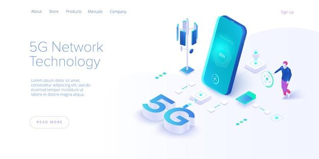 Technologie réseau 5g en isométrique.