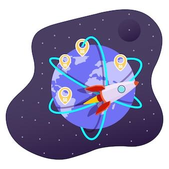 Technologie de réseau sans fil 5g, internet haut débit mondial, illustration vectorielle plane. fusée volant autour de la planète terre.