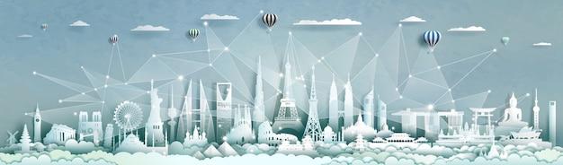 Technologie réseau sans fil de communication ville intelligente avec l'architecture du monde.