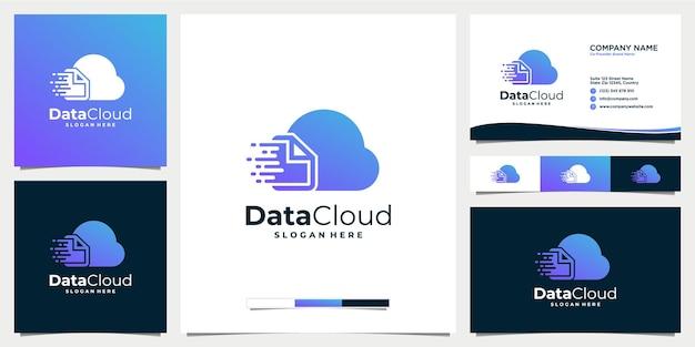 Technologie de réseau de stockage de données de conception de logo numérique en nuage avec modèle de carte de visite