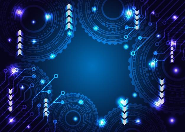 La technologie de la roue dentée émet une lumière et une carte de circuit imprimé.
