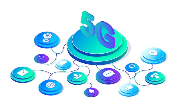 Technologie sans fil du réseau 5g internet mobile du modèle de conception de page web de nouvelle génération