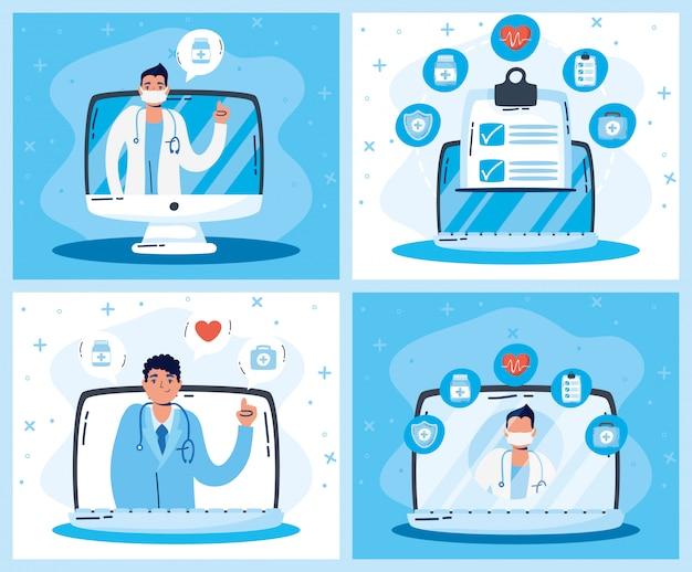 Technologie de santé en ligne avec gadgets et médecins
