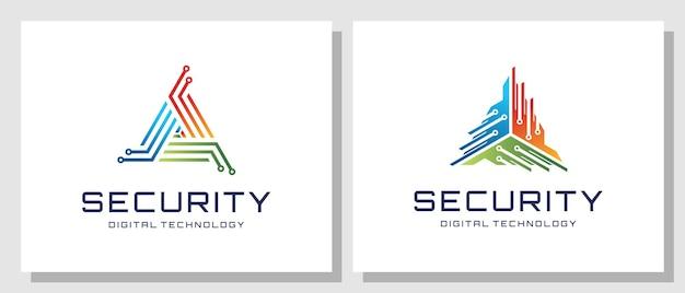 Technologie sécurité système numérique protection triangle bouclier réseau création logo moderne