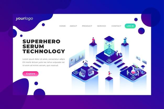 Technologie de sérum de super-héros - page de destination vectorielle