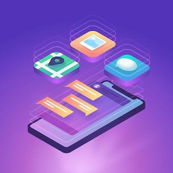 Technologie smartphone isométrique