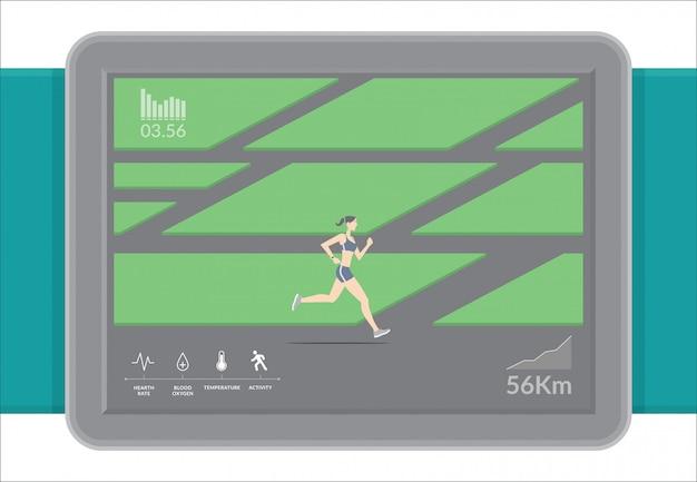 Technologie smartwatch avec applications de suivi du fitness sportif.
