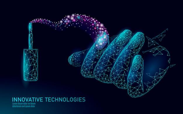 Technologie de soin de vernis à ongles moderne low poly. mani de salon de spa innovant