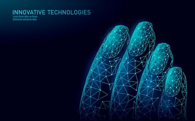 Technologie de soin de vernis à ongles moderne low poly. salon spa innovant