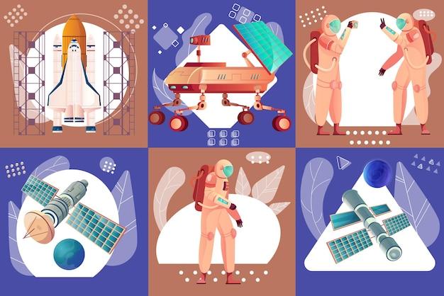 Technologie spatiale et ensemble d'exploration d'illustration plate
