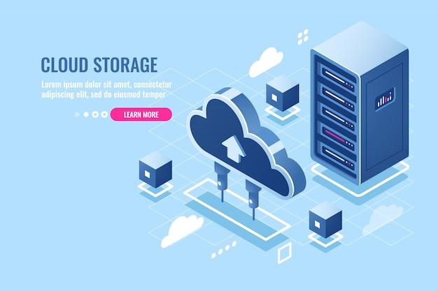 Technologie de stockage de données en nuage, rack de salle de serveurs, icône isométrique de base de données et de centre de données