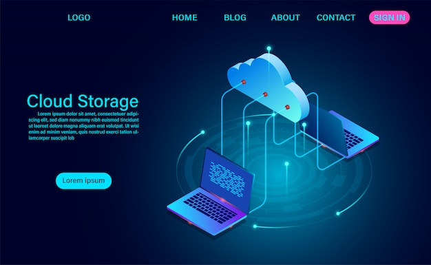 Technologie de stockage en nuage et concept de mise en réseau. technologie informatique en ligne. concept de traitement de flux de données volumineuses, illustration vectorielle