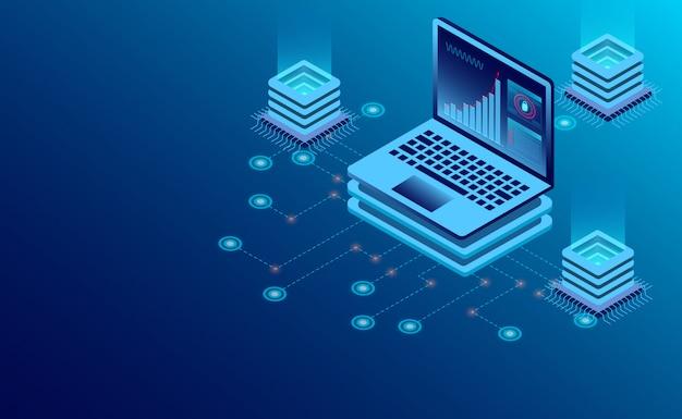 Technologie de stockage en nuage dans la salle des serveurs du centre de données et traitement des données volumineuses