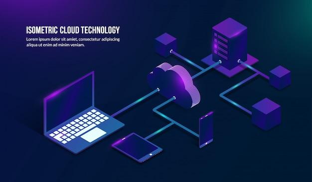Technologie de stockage en nuage isométrique