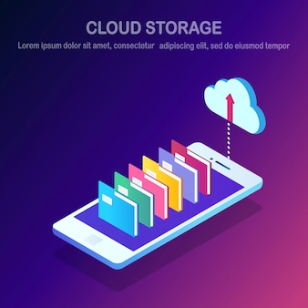 Technologie de stockage en nuage. sauvegarde de données