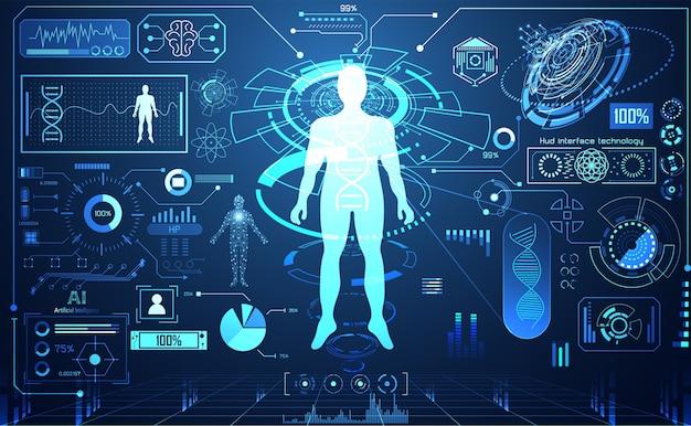 Technologie ui futuriste humain hud