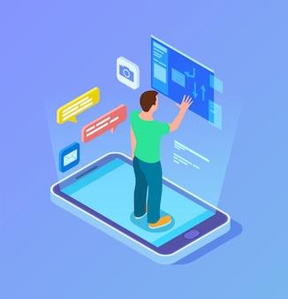 Technologies commerciales modernes. connexion à distance, l'homme isométrique travaille avec un service multimédia. courrier ou réseau social, publication de nouvelles ou création de contenu illustration vectorielle. communication à distance en ligne