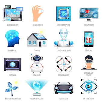 Technologies du futur icons set