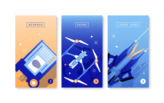 Technologies futures trois affiches avec drones bio pass pistolets laser compositions de couleurs plates isolées