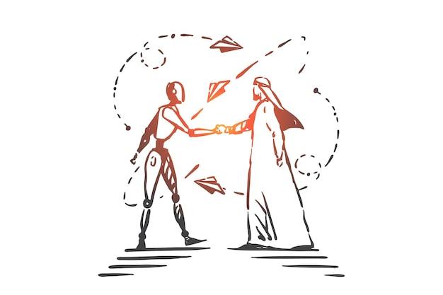 Technologies d'ia, illustration de concept de partenariat