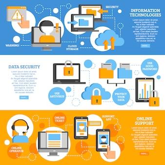 Technologies de l'information bannières horizontales