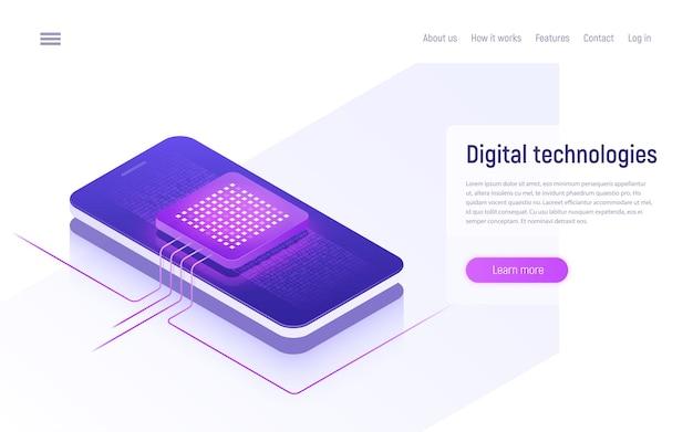 Technologies numériques, concept isométrique de traitement de données.