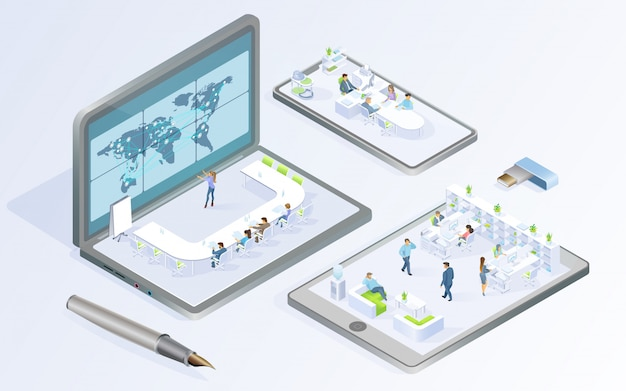 Technologies numériques pour entreprise vecteur isométrique