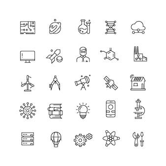Technologies et science icônes de ligne de vecteur