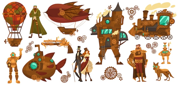 Technologies steampunk, transport vintage fantastique et personnages de dessins animés de personnes, illustration
