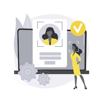 Technologies de vérification. processus de vérification, accès aux données, mot de passe utilisateur, compte sur les réseaux sociaux, scan de l'iris, reconnaissance faciale, sécurité.