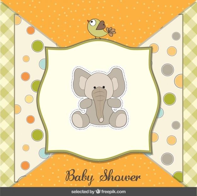 Teddy éléphant carte de douche de bébé