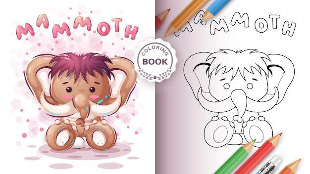 Teddy mammoth - livre de coloriage pour les petits et les enfants
