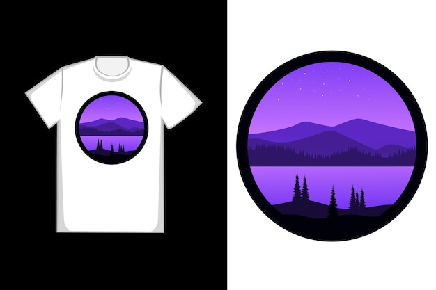 Tee shirt belle montagne et forêt nature couleur violet et noir