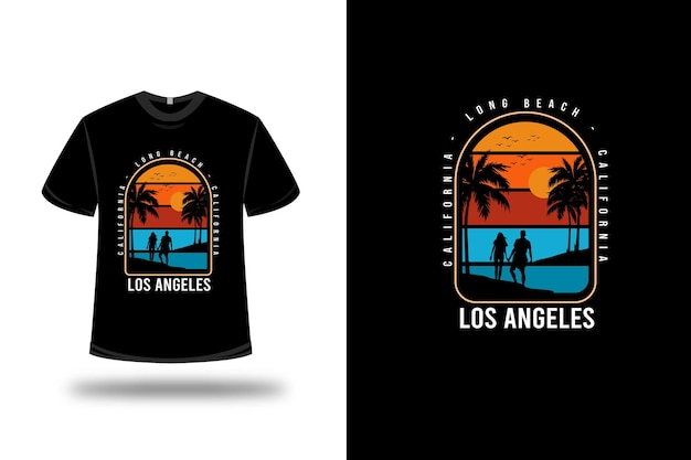 Tee shirt california long beach los angeles couleur orange jaune et bleu