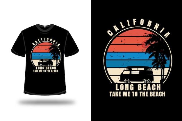 Tee shirt california long beach take me to the beach couleur orange bleu et crème