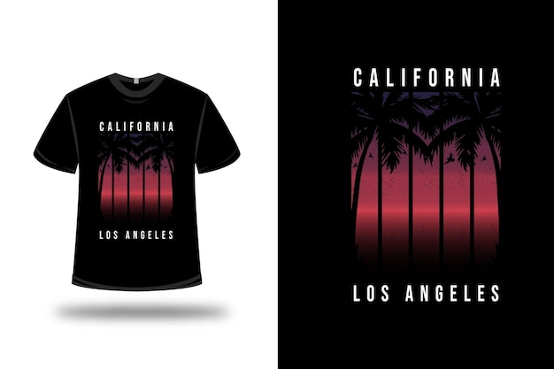 Tee shirt california los angeles sur violet et rouge