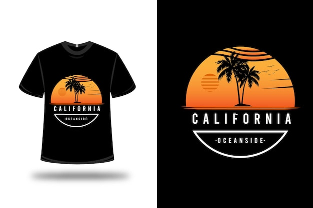 Tee shirt california ocean side couleur orange blanc