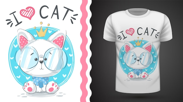 Tee-shirt chat mignon princesse
