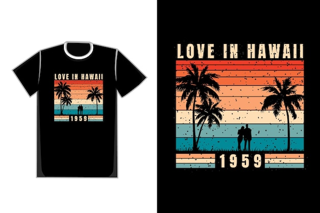 Tee shirt couple romantique sur la plage titre love in hawaii 1959