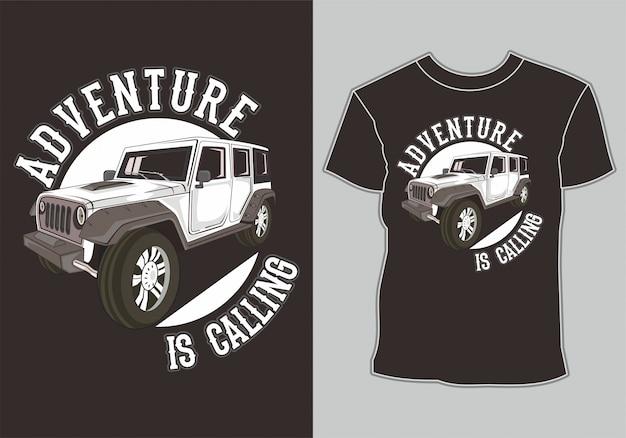 Tee shirt design jeep tout terrain 4x4