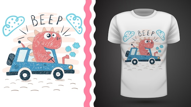 Tee-shirt dino with tractor idea for print