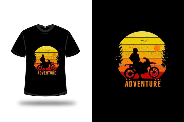 Tee shirt dirt bike aventure couleur jaune orange et rouge