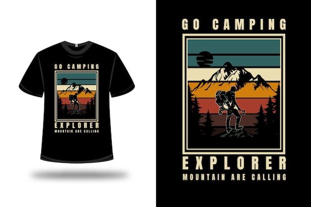 Tee shirt go camping explorer montagne appelez couleur vert jaune et marron